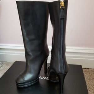 Chanel New in box Black Leather Platform Boots